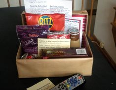 Babysitter box - this is kind of genius.  Anyone who babysits will have this waiting for them :)