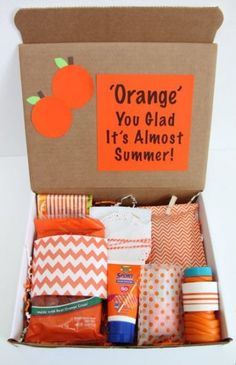 Geschenk Ideen - Happy Mail: Orange You Glad It& Almost Summer Gift Idea // Smashed Peas and. Sisters Presents, Sister Gifts, Orange You Glad, Orange Orange, Gift Baskets For Men, Basket Gift, Mail Gifts, Christmas Gift Baskets, Messages