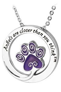 Angels Are Closer Than You Think Purple Paw Necklace at The Animal Rescue Site