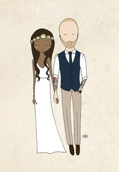 personalized wedding portrait for wedding, engagement, or anniversary gifts by Blankaillustration