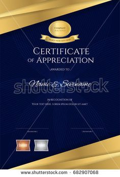 Luxury certificate template with elegant border frame  Diploma     Portrait luxury certificate template with elegant blue and golden border  frame  Diploma design for graduation