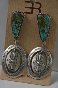 Kingman turquoise und Sterling earrings