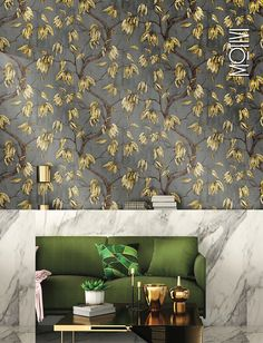 Metallic gold tones warm up modern wallpaper and add a touch of luxury to easily elevate any space. Gold Wallpaper, Modern Wallpaper, Golden Life, Gold Pattern, Metallic Gold, Tapestry, Curtains, Warm, Touch