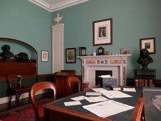 A view from inside Patrick Pearse's study at St. Enda's School (An Scoil Éanna) in Rathfarnham, South Dublin.  To the left of the mantle is the likeness of brother Willie. The Pearse family taught and maintained the school and grounds, including sisters Margaret and Mary Brigid, Willie, and their mother Mrs. Margaret Brady Pearse.  The projector on the left wall shelf was an addition to the school by request of Willie (if I remember correctly).  One of Pearse's nationalist heroes and… Wall Shelves, Shelf, Easter Rising, Erin Go Bragh, November 2013, Mantle, Dublin, Ireland, Brother