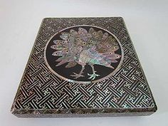 Japanese Antique Raden Writing Box with mother-of-pearl peacock inlay, Suzuribako