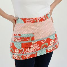 orange and pink half apron, fresh and fun for spring..inspired by the artistic fabric stylings of @Kate Spain :)