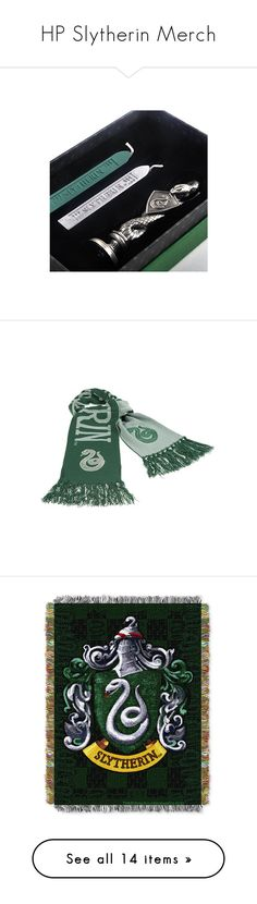 """""""HP Slytherin Merch"""" by haileyscomet95 ❤ liked on Polyvore featuring home, home decor, accessories, scarves, embroidered shawl, fringe scarves, embroidered scarves, fringe shawl, knit scarves and bed & bath"""