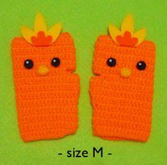 Crochet Fingerless Gloves Torchic from Pokemon by DarmianiDesign