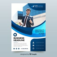 Abstract bussiness flyer with photo template Free Vector Graphic Design Brochure, Branding Design, Photo Templates Free, Free Templates For Flyers, Powerpoint Poster Template, Brochure Template, Rollup Design, Medical Brochure, Prospectus