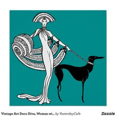 Vintage Art Deco Diva, Woman with Greyhound Dog Poster