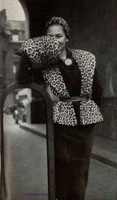Leopard ensemble (1950) by French fashion designer Pierre Balmain. via Stereo Culture Society