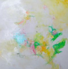 Abstract Painting Intuitive Yellow Gray by kerriblackmanfineart, $155.00