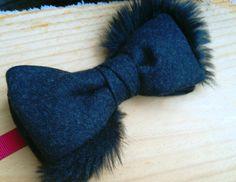 Fur trimmed wool bowtie #fakefur #wool #handmade #funtowear #dapper #fashion #simonsbowties #bowtie #menswear #limitededition Fake Fur, Bowties, Fur Trim, Dapper, Menswear, Wool, Fun, Handmade, Fashion