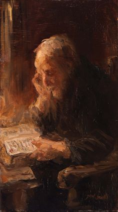 Bijbel-lectuur / Bible-reading, ca 1895, Jozef Israëls. Dutch (1824 - 1911)