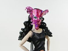 Leather Barbie Mask  Pink Black Dragon Mask  by MacWadeStudios