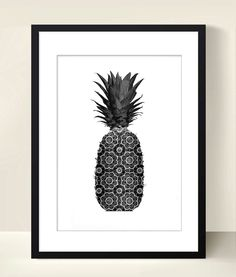 Affiche poster noir et blanc graphique ananas format A4 : Affiches, illustrations, posters par digitalartparis