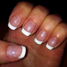 Shellac French Manicure with Silver VIP Status as the base.