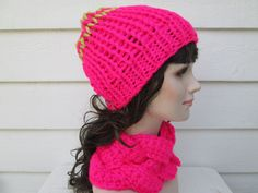 Ready to ship  This hat is DOUBLE knit!! It means this hat has TWO layers - inner layer and outer, making it perfect for those fierce northern winters! SUPER SOFT and cozy. And very classy looking too, you will love wearing it.  Fits: average womans head Color: Neon Pink Care: hand washing only, laying flat over a towel to dry  Absolutely stunning.  The hat is Super Fluffy and lofty, Double Layered, but very Light, Soft and Cushy.  Super Stretchy.  You will fall in love with its springy…