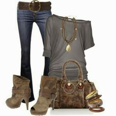 Light grey blouse, jeans, handbag and high heel boots for fall