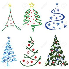 Christmas Tree Design Set Six Tree Designs In Set Royalty Free ...