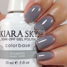 I have a few more Kiara Sky gel polish swatches for you today! Kiara Sky is a two-step gel polish that can be applied without a base coat, though I prefer using one. Each gel polish also has a ma… Gel Polish Colors, Gel Nail Polish, Kiara Sky Gel Polish, Sky Nails, Gold Nails, Natural Nail Designs, Dipped Nails, Nail Games, Powder Nails