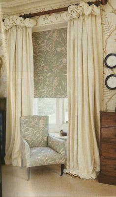 All about window treatment ideas bedroom living room unique faux roman shadeskitchen for sliding doors wide bay large scarf triple inexpensive diy window rustic & bathroom. Valance Window Treatments, Window Coverings, Curtains With Blinds, Drapes Curtains, Bedroom Curtains, Balloon Valance, English House, Curtain Designs, House And Home Magazine