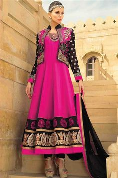 Fdeep Pink, Black Georgette Embroidered Long Anarkali Suit with Koti