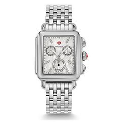 Signature Deco Non-Diamond, Diamond Dial Watch Twelve sparkling diamonds mark the hours on the dial of this Signature Deco timepiece. Swiss chronograph movement along with signature Michele touches complete the look. The stainless steel bracelet is interchangeable with any 18mm Michele strap.