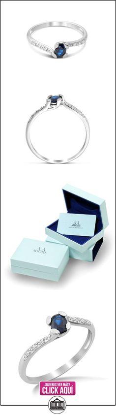 Miore MG9117R6 - Anillo de oro blanco de 9 quilates con zafiro azul (.05), talla 16 (17,84 mm)  ✿ Joyas para mujer - Las mejores ofertas ✿ ▬► Ver oferta: https://comprar.io/goto/B00CILSGPK