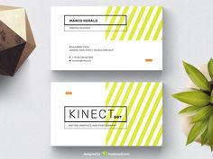 White Business Card With Chartreuse Yellow Stripes - Freebcard