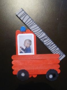 Print photo like this one for the tractor craft! Popsicle Stick Crafts, Craft Stick Crafts, Preschool Crafts, Popsicle Sticks, Toddler Crafts, Toddler Activities, Fire Truck Craft, Diy For Kids, Crafts For Kids