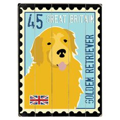 Add charming appeal to your entryway or kitchen with this planked wood wall decor, showcasing a stamp-inspired golden retriever print with a British theme.