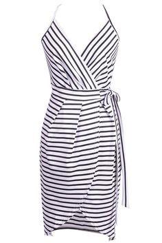 Women's Spaghetti Strap V Neck Surplice Stripe Dress.Check more from http://www.oasap.com .
