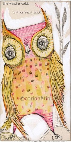pink owl art - watercolor painting - a second edition - archival - limited edition print - by cori dantini. $20.00, via Etsy.