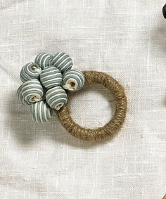 Striped Bead Bouquet Napkin Ring - Ice Blue