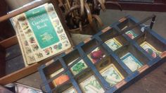 Vintage Sunset Western Garden Books, Seed starter tray and vintage seed packets.