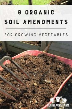 9 Organic Soil Amendments for Growing Vegetables: Do you have soil that is high in clay or sand? Here are some of my favorite organic soil amendments that can improve conditions for growing vegetables. #gardening