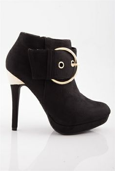 Full Circle Stiletto Heel Booties - Black