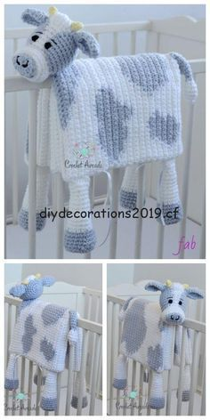 Couverture de bébé vache au crochet au crochet