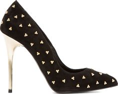 Alexander McQueen: Black Beaded Suede Pumps || They only come in your size