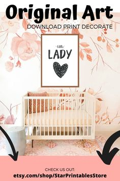 .♥. Modern Typography Our Little Lady Quote for Wall Decor, Printable easy download for Nursery Decor. Ideal for baby girl Nursery and above crib Decor. DIY printable poster perfect for your nursery Featuring minimal Quote Our Little Lady typography, this nursery wall art is perfect for your baby girl's nursery! Download immediately after purchase to print and frame your new wall art :)