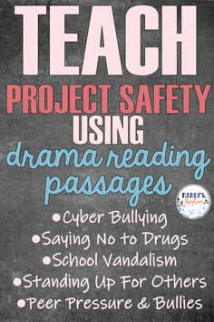 This product makes teaching project safety lessons easy using drama reading comprehension. Students will learn about cyber bullying, saying no to drugs, peer pressure and more. Reading Stories, Reading Passages, Teaching Reading, Teaching Ideas, Cyber Bullying, Fluency Practice, Reading Comprehension Strategies, Third Grade Reading, Authors Purpose
