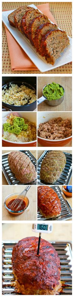 Turkey Pesto Meatloaf with Tomato Sauce.  If you like pesto, this recipe is so delicious.     [from KalynsKitchen.com]
