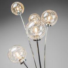 Lámpara pie SOAP 5 cromo - Hermosa lámpara de pie de cinco brazos con cubiertas de cristal con alambre cromado. Se crean unos preciosos efectos de luz.