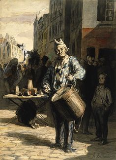 Clown playing a drum, Honoré Daumier
