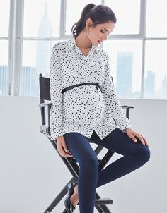 61e4548cae3 Button down style for nursing Stylish polka dot print Pintuck detailing  Long sleeves turn up at