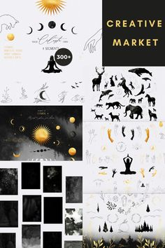 Celestial Digital Design Assets Collection - including  Graphic Elements in segments of: Cosmos · Spiritual Vessel · Spirit Animals · Nature's Gifts · additional Space Postcard Watercolour Backgrounds · Black & Gold Colour Variations · Cosmic Textures · Delicate Line Art | #photoshop #illustrator #digitaldesign #creativeassets #graphicdesign #graphicelements #patterndesign #logodesign #mysticaldesign #creativemarket #affiliatelink Watercolor Texture, Watercolor Background, Watercolour, Cosmos, Have A Nice Life, Moon Wedding, Gold Palette, Watercolor Projects, Gold Colour