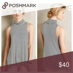 """{Anthropologie} Turtleneck Swing Tank {Anthropologie} Turtleneck Swing Tank by Puella. 'Perfect over slim denim, thanks to a lengthy hem, while lightweight jersey makes it tuckable for midi skirts.' Also a great layering piece. Black and white stripe. Sleeveless. Polyester, rayon, spandex knit. Falls approx 28"""" from the shoulder. NWOT, never worn. Anthropologie Tops Tank Tops"""