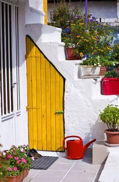 Backyard Garden Porches and Tropical Garden Ideas Palms. Entrance Doors, Doorway, Garage Doors, Purple Door, Yellow Doors, Cool Doors, Unique Doors, Door Knockers, Door Knobs