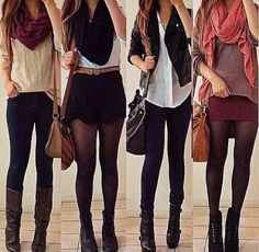 4 outfits that involve tights and boots or jeans and boots